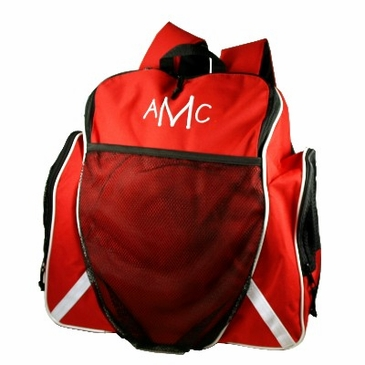 Red Personalized Tri-Color Ball Backpack