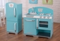 Retro Kitchen and Refrigerator - Blue - click to Enlarge
