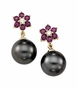 Rhodolite Garnet Earrings with Tahitian Cultured Pearl - click to Enlarge