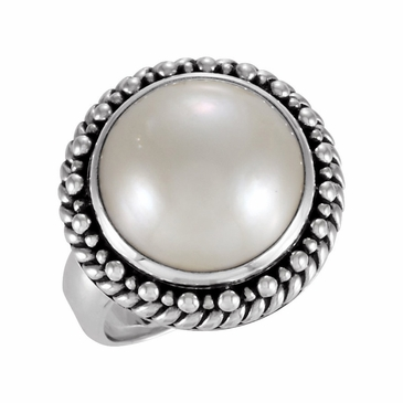 Round Sterling Silver Cultured Mabe Ring with Pearl