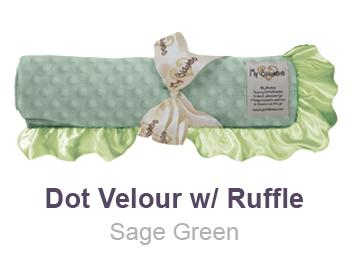 Sage Green Dot Velour with Ruffle Trim Blanket by My Blankee