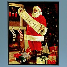 Santa Double-Checking His List Canvas Artwork - Personalized
