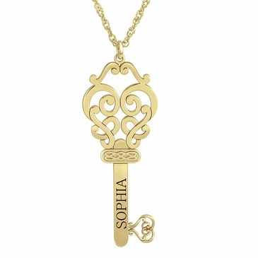 Scroll Key Personalized Pendant Necklace