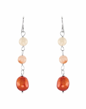 Silver Earrings with Cultured Pearl & Natural Agate Beads