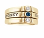 Simple Bezel Set Birthstone Engraved Gold Ring - with Genuine Stones - click to Enlarge