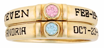Simple Bezel Set Birthstone Engraved Gold Ring - with Genuine Stones
