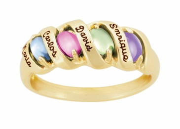 Sleek Ribbon Birthstone Personalized Gold Ring - with Genuine Stones
