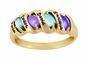 Sleek Ribbon Birthstone Personalized Gold Ring - with Simulated Stones - click to Enlarge