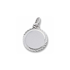 Small Round Disc Charm with Diamond Cut Border by Forever Charms - Personalized