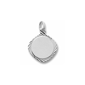 Small Square Disc Charm with Diamond Cut Border by Forever Charms - Personalized