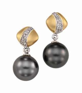 Sophisticated Tahitian Pearl and Diamond Earrings