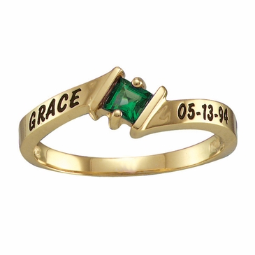 Special Name and Date Personalized Ring