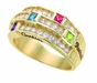 Stacked Birthstone Ring - with Genuine Stones - click to Enlarge