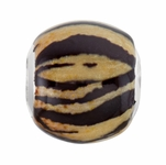 Sterling Silver 12x13mm Tiger Print Bead
