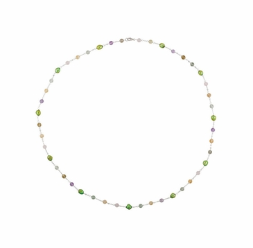 Sterling Silver 4 Inch Necklace with Natural Green Pearl and Crystal Beads