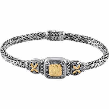 Sterling Silver Bangle Bracelet with 18K Yellow Accents