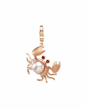 Sterling Silver Crab Charm with Pearl and Garnet Accent