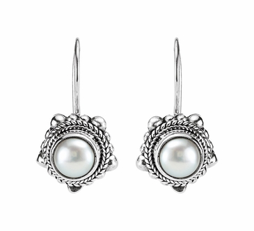 Sterling Silver Cultured Mabe Earrings with Pearl