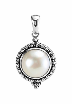 Sterling Silver Cultured Mabe Pearl Pendant with Stone