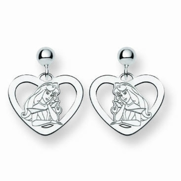 Sterling Silver Disney Aurora Heart Post Dangle Earrings