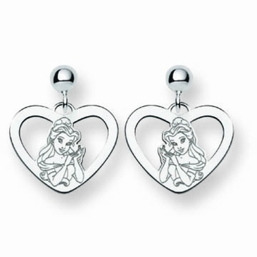 Sterling Silver Disney Belle Silhouette Heart Post Dangle Earrings