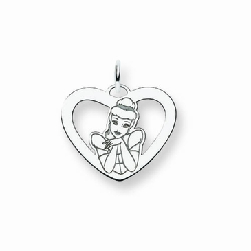 Sterling Silver Disney Cinderella Silhouette Heart Charm