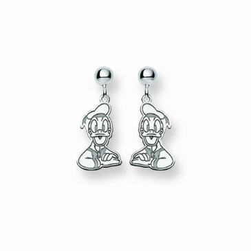 Sterling Silver Disney Donald Duck Post Dangle Earrings