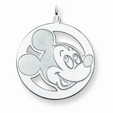 Sterling Silver Disney Mickey Mouse Silhouette Circle Charm