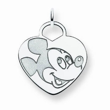 Sterling Silver Disney Mickey Mouse Solid Heart Charm