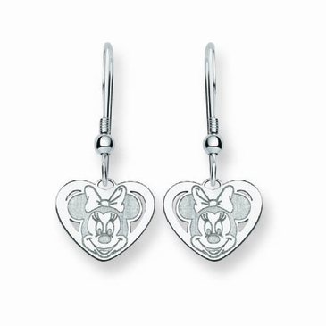 Sterling Silver Disney Minnie Mouse Cutout Heart Wire Dangle Earrings