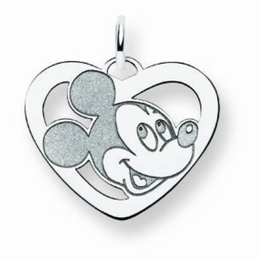 Sterling Silver Disney Small Mickey Mouse Silhouette Heart Charm