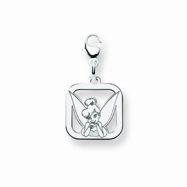 Sterling Silver Disney Small Tinker Bell Portrait Silhouette Square Charm with Lobster Clasp