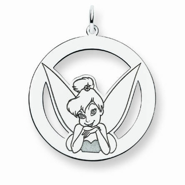 Sterling Silver Disney Tinker Bell Portrait Silhouette Circle Charm