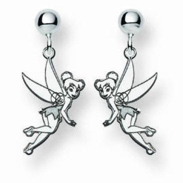 Sterling Silver Disney Tinker Bell Post Dangle Earrings