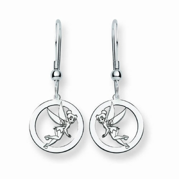Sterling Silver Disney Tinker Bell Silhouette Circle Wire Dangle Earrings