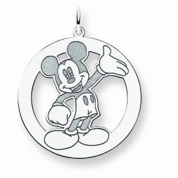 Sterling Silver Disney Waving Mickey Mouse Silhouette Circle Charm