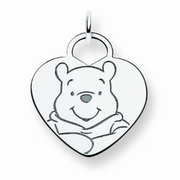 Sterling Silver Disney Winnie the Pooh Solid Heart Charm