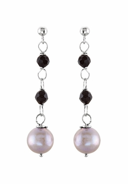 Sterling Silver Earrings with Natural Pearls and Beads