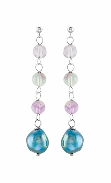 Sterling Silver Freshwater Blue Pearl & Natural Crystal Beads Earrings