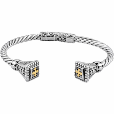 Sterling Silver Hinged Cuff Bracelet with 18K Yellow Accents