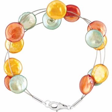 Sterling Silver Multi-Strand Cultured Dyed Pearl Bracelet - 7.5 Inch