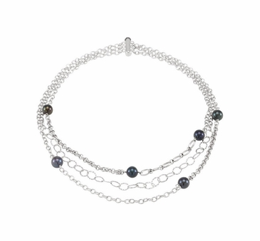 Sterling silver necklace with cultured black pearl