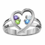 Sterling Silver Open Heart Birthstone Ring