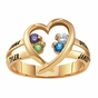 Sterling Silver Open Heart Birthstone Ring - click to Enlarge