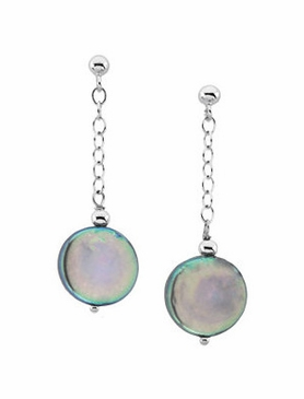 Sterling Silver Pearl medallion Earring