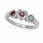 Sterling Silver Triple Heart Daughter Birthstone Ring
