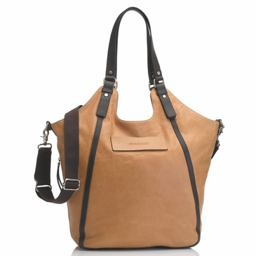 Storksak Ellena�Twisted Tan Leather Diaper Bag