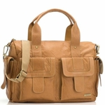 Storksak Sofia Tan Leather Diaper Bag