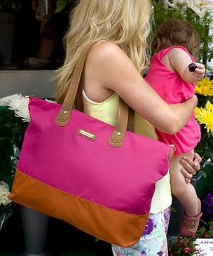 Storksak Tote Fuchsia Orange Diaper Bag