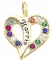 Stylized Split Heart Birthstone Gold Necklace - with Genuine Stones - click to Enlarge